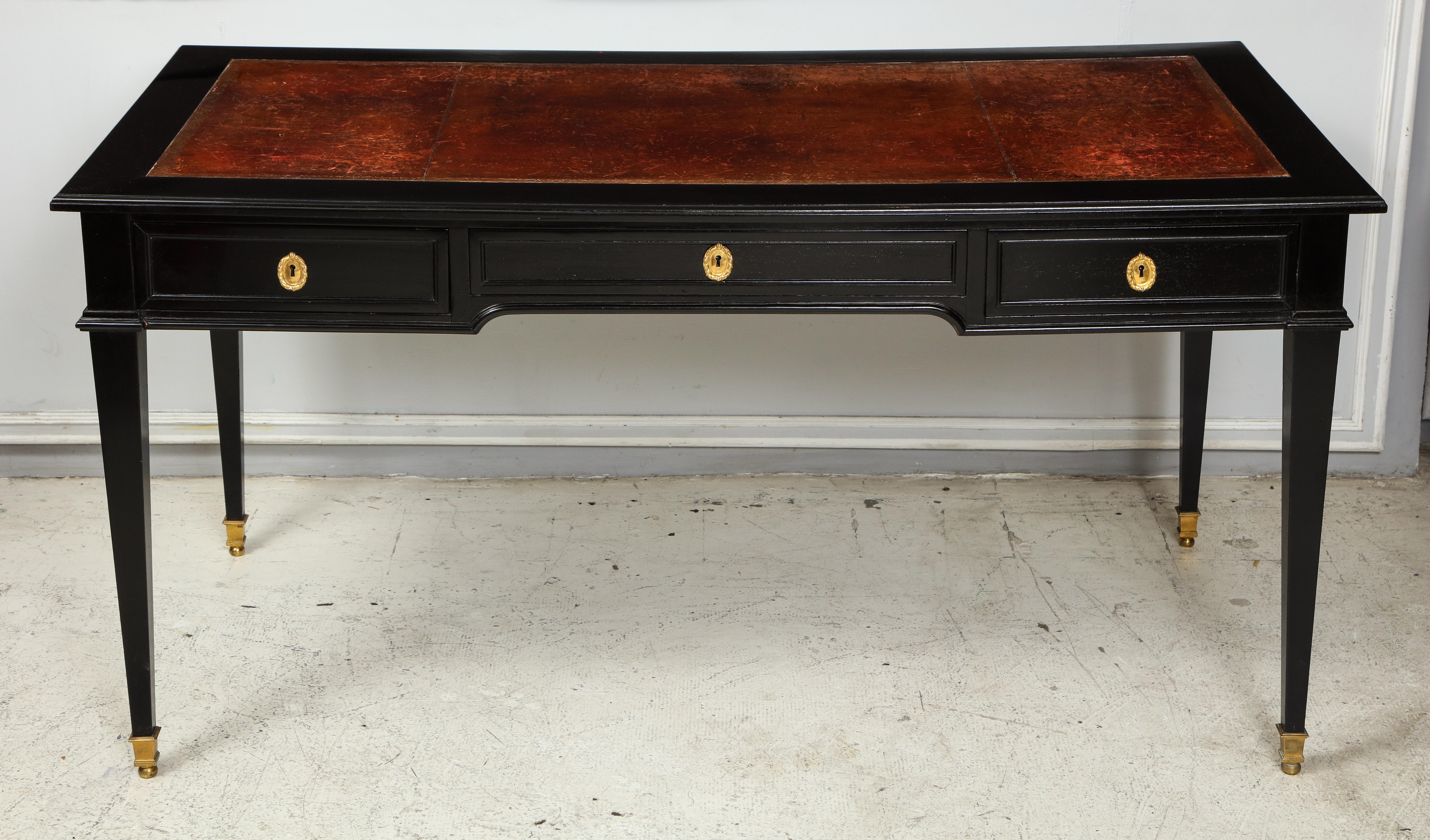 Signed maison jansen ebonized leather top bureau plat desk on