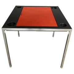 Signed Maison Jansen Leather Top Backgammon Game Table
