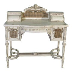 Signed Maison Jansen Paint Decorated Louis XVI Ladies Vanity Writing Desk