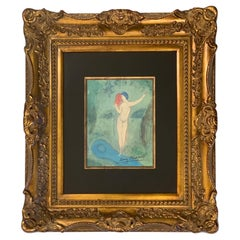 """Signed Marc Chagall """"Chloe's Kiss"""" Lithograph in Giltwood Frame with COA"""