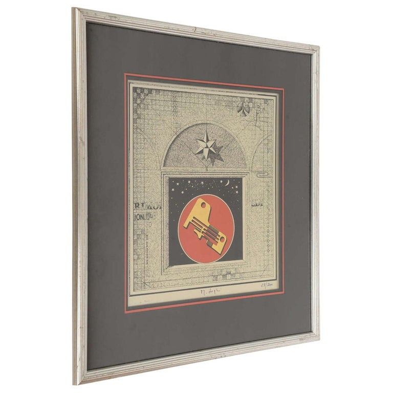 Signed Mario Logli Red, Black, Gold Futurist Work of Art Italian Vintage For Sale