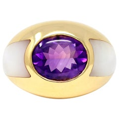 Signed Mauboussin Amethyst and Mother of Pearl Ring in 18 Karat Yellow Gold