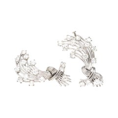 Signed Mauboussin Paris Pair of Clips in Platinum and 18k