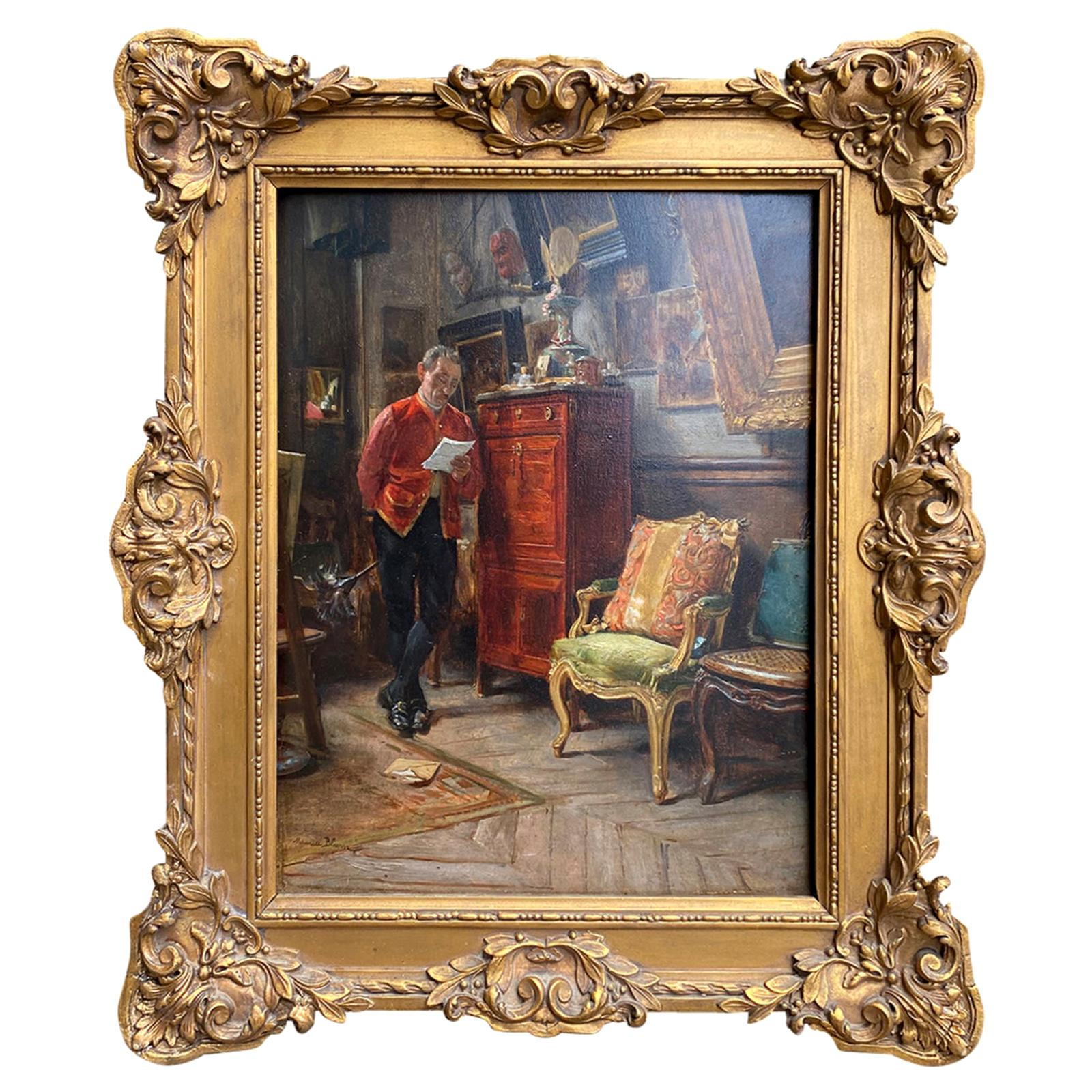 Signed Maurice Blum 'France 1832-1909' Oil Painting on Wood Panel of Butler