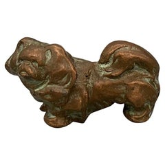 Signed McClelland Barclay Solid Bronze Pekingese Dog Sculpture 1930s Paperweight