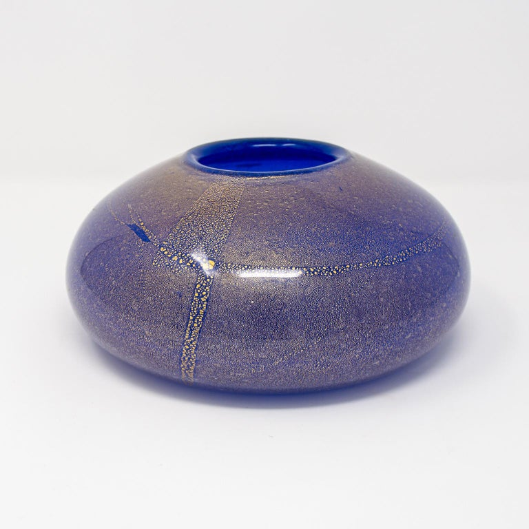 20th Century Signed Midcentury Cenedese Blue and Gold Murano Glass Vase For Sale