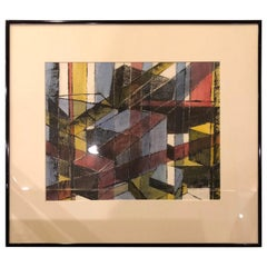 Signed Midcentury Geometric Abstract Original Pastel