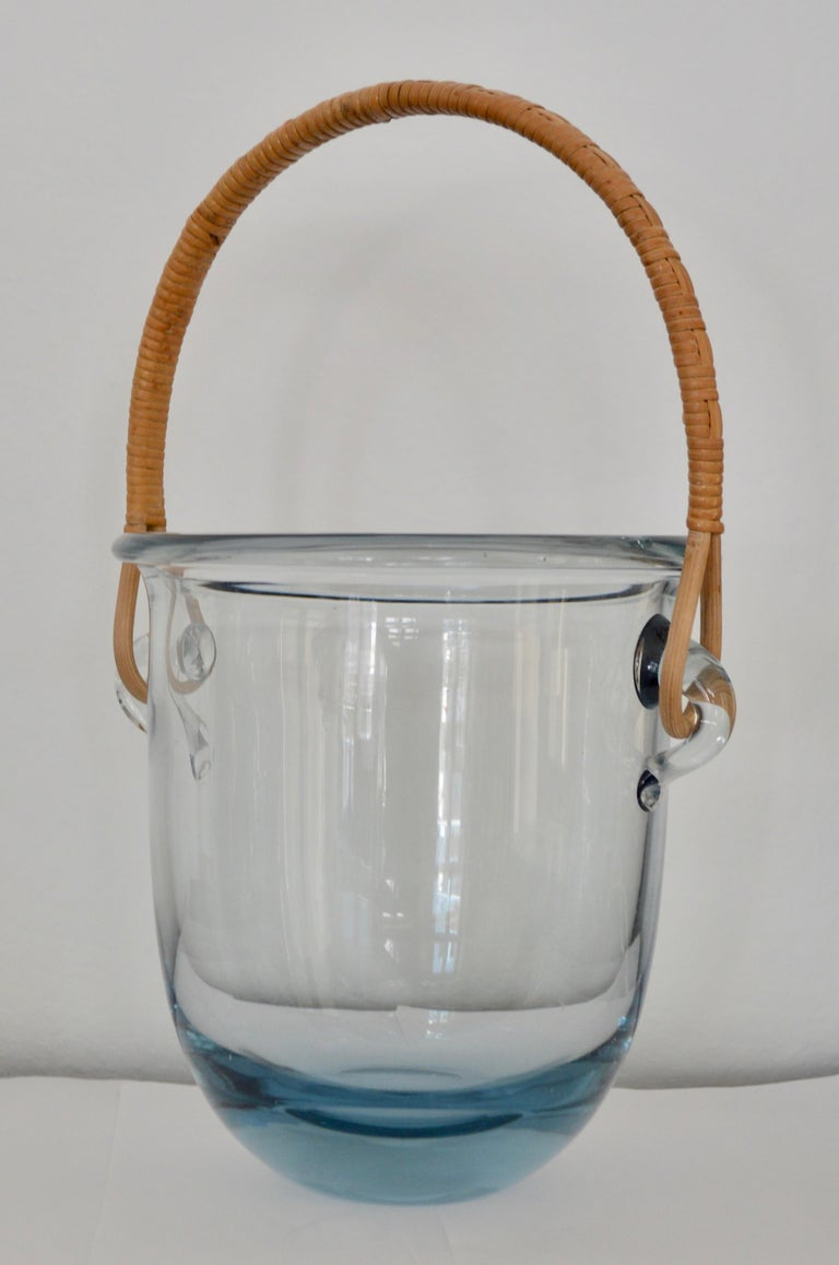 Signed Mid Century Modern Holmegaard Glass Ice Bucket With Rattan Handle For Sale 4