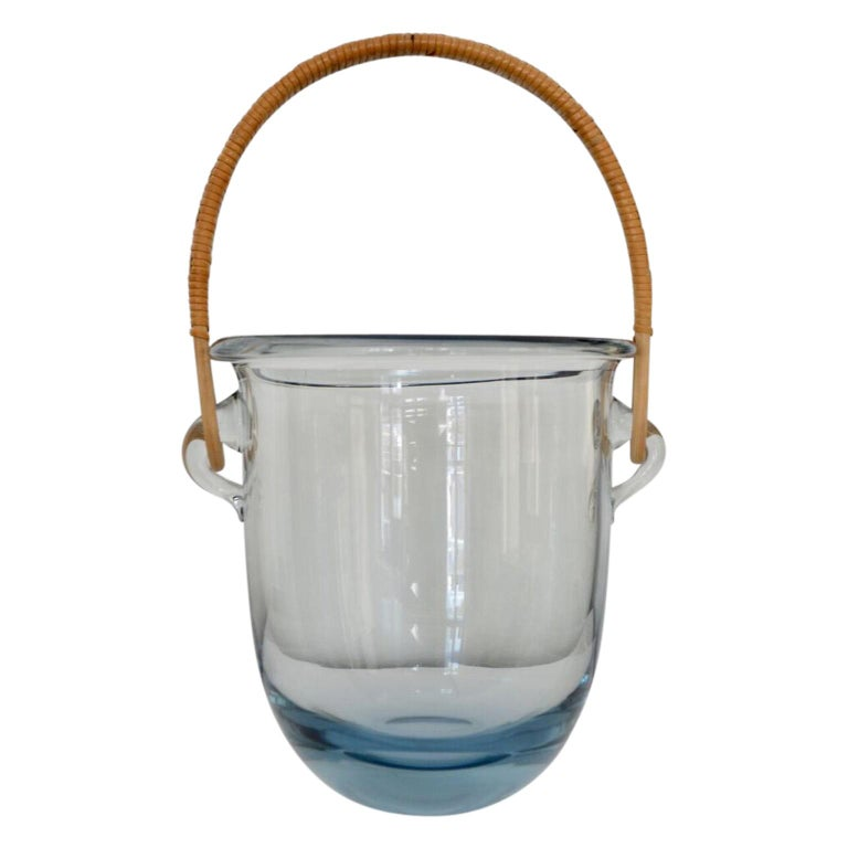 Mid-Century Modern Signed Mid Century Modern Holmegaard Glass Ice Bucket With Rattan Handle For Sale