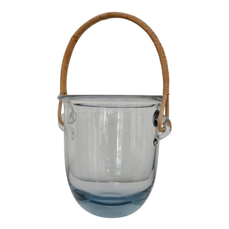 Danish Signed Mid Century Modern Holmegaard Glass Ice Bucket With Rattan Handle For Sale