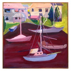 Signed Mid Century Modern Abstract of Sailboats
