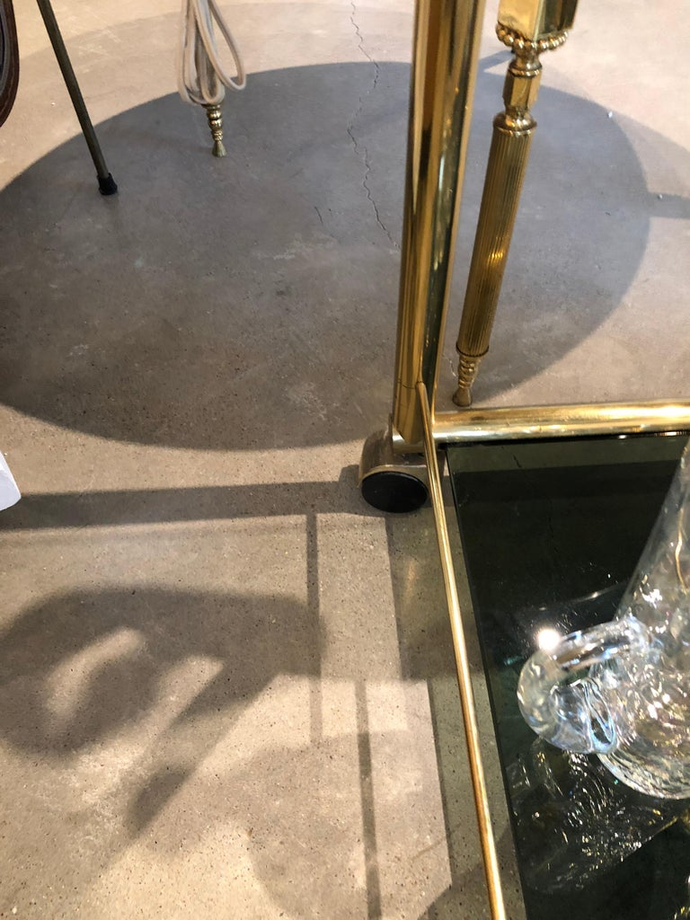 Mid-Century Modern Art Deco Inspired 2-Tier Gold Brass and Glass Bar Cart by DIA For Sale 10