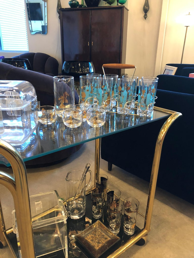 Mid-Century Modern Art Deco Inspired 2-Tier Gold Brass and Glass Bar Cart by DIA In Good Condition For Sale In Houston, TX
