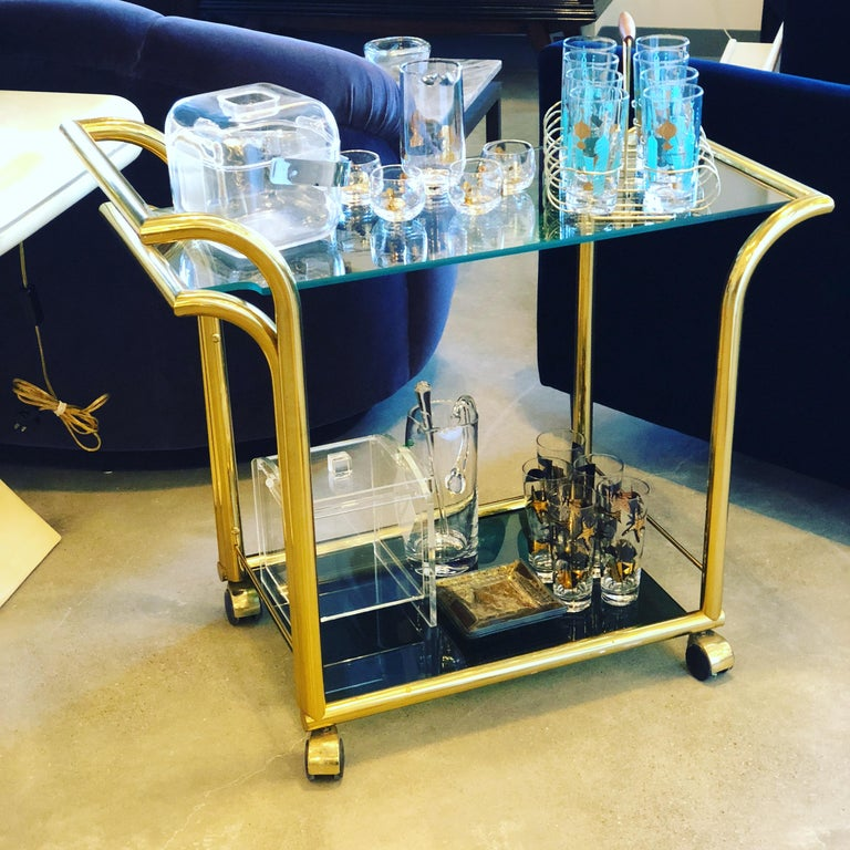 20th Century Mid-Century Modern Art Deco Inspired 2-Tier Gold Brass and Glass Bar Cart by DIA For Sale