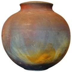 Signed Mid-Century Modern Brown, Blue and Beige American Raku Vase, Vessel, Urn