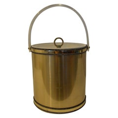 Signed Mid-Century Modern Georges Briard Brushed Brass & Lucite Ice Bucket
