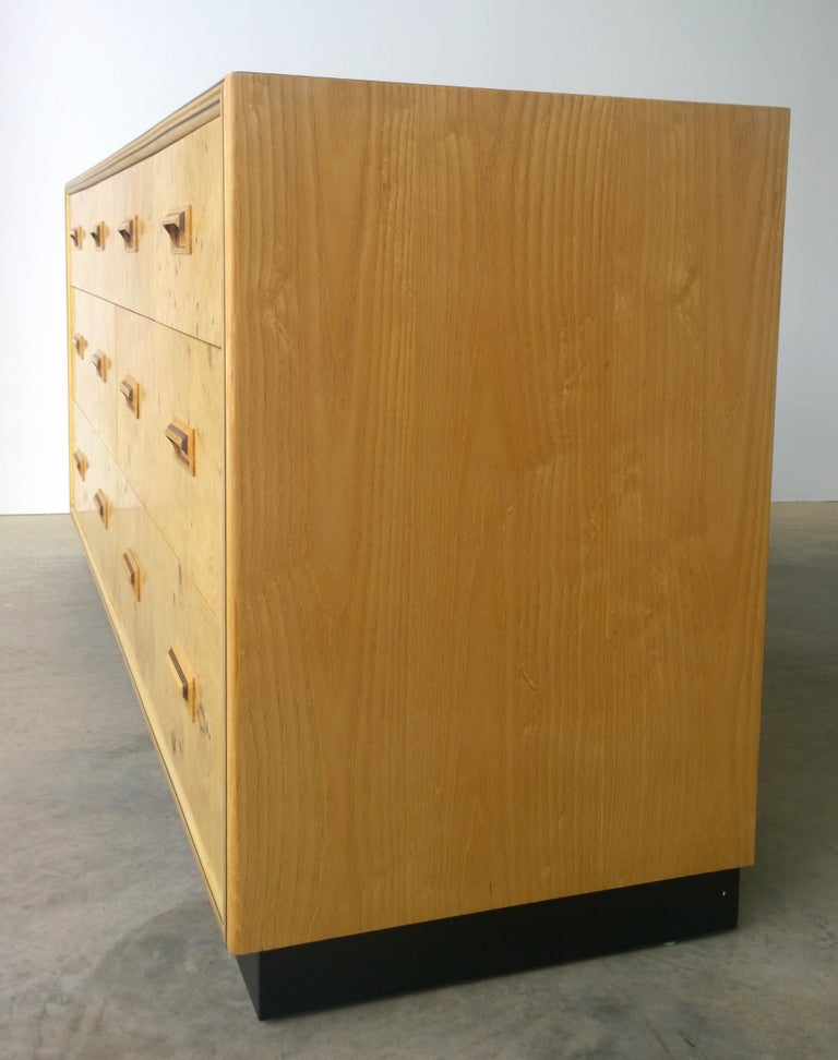 Ebonized Henredon Dresser with an Oak Case, Burl Olive Drawers and Macassar Ebony Inlays For Sale