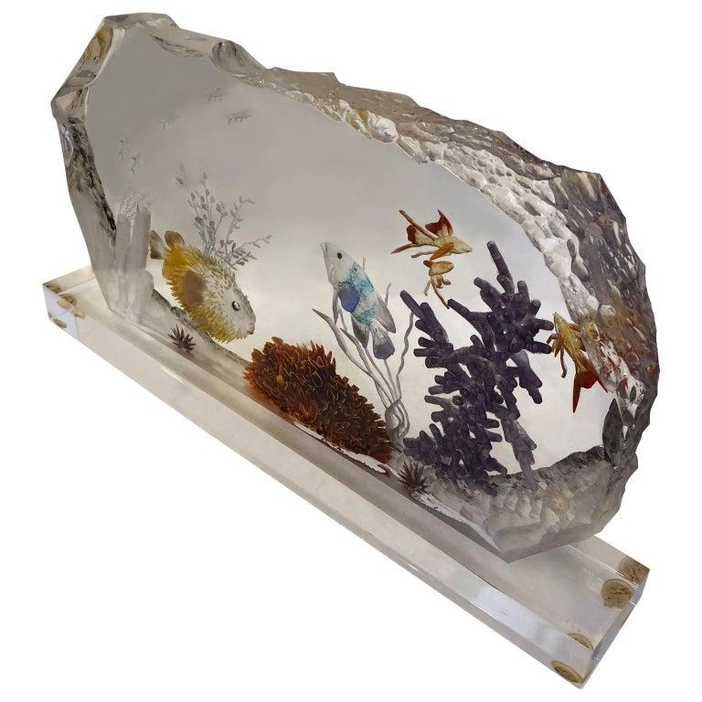 Signed Mid-Century Modern Lucite fish tank desk accessory Signed Doug M.