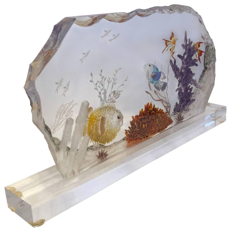 American Mid-Century Modern Lucite Fish Tank For Sale