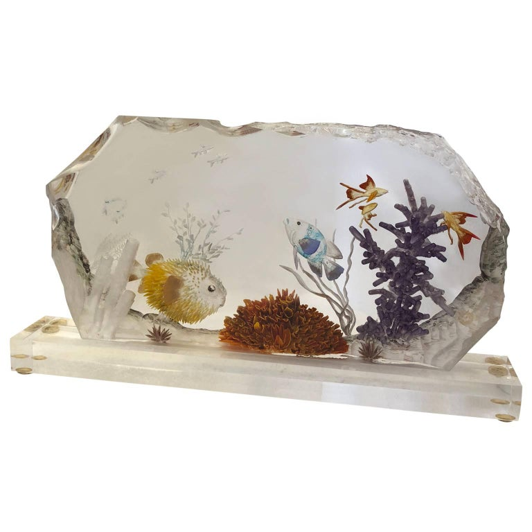 Mid-Century Modern Lucite Fish Tank For Sale