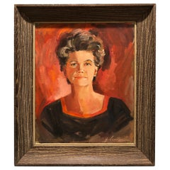Signed Mid Century Modern Portrait of a Woman