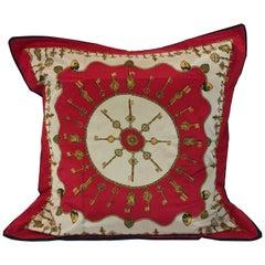 Signed Mid-Century Modern Signed Oscar De La Renta Silk Scarf Upholstered Pillow