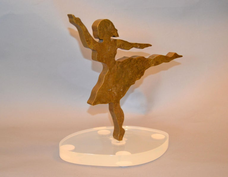 American Signed Mid-Century Modern Solid Bronze Ballerina Dancer Sculpture Lucite Base For Sale