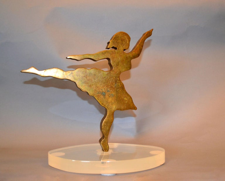 Signed Mid-Century Modern Solid Bronze Ballerina Dancer Sculpture Lucite Base In Good Condition For Sale In Miami, FL