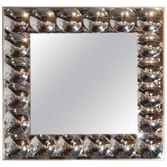 Signed Mid-Century Modern Turner Pressure Molded Silver Plastic Bubbles Mirror