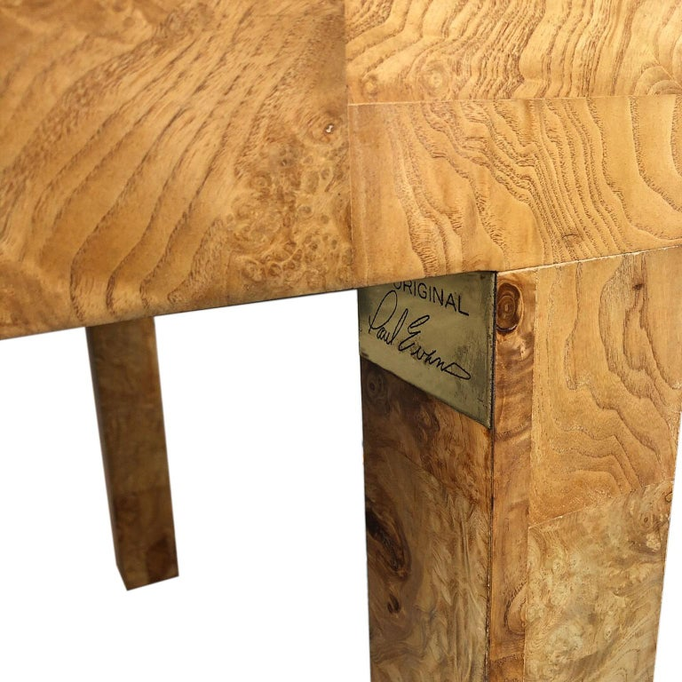 Signed Mid-Century Paul Evans Burl Patchwork Dining Table For Sale 1