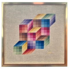 Signed Midcentury Cubist Chevron Textile Tapestry Framed Art