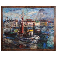 Signed Midcentury Painting of Fishing Boats at Dock