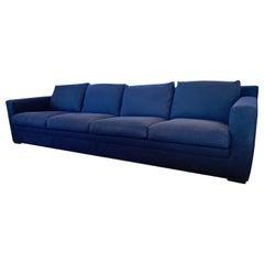 Signed Minotti Made in Italy Extra Long Navy Blue Floating Sofa