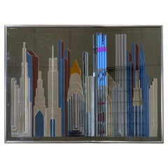 Signed Mirrored Mosaic Cityscape NYC Skyline Sculpture Mirror George Norbor