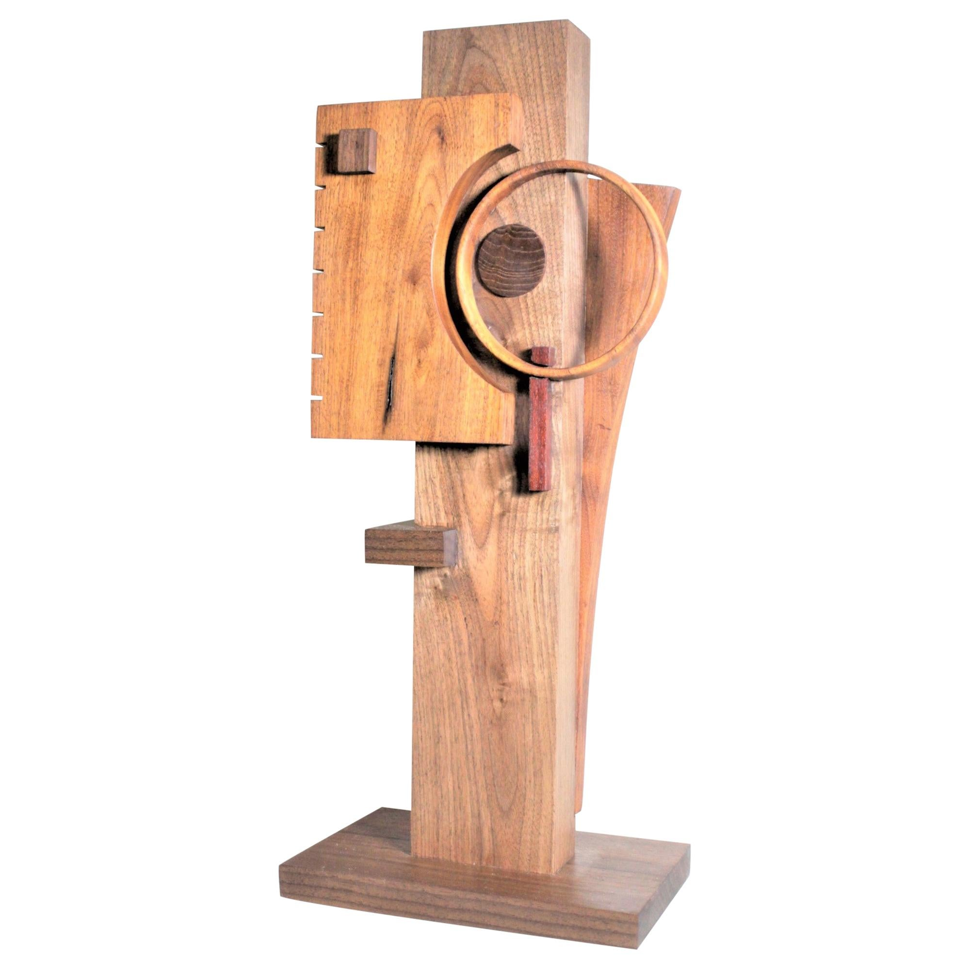 Signed Modern Abstract Constructivist Styled Wooden Sculpture
