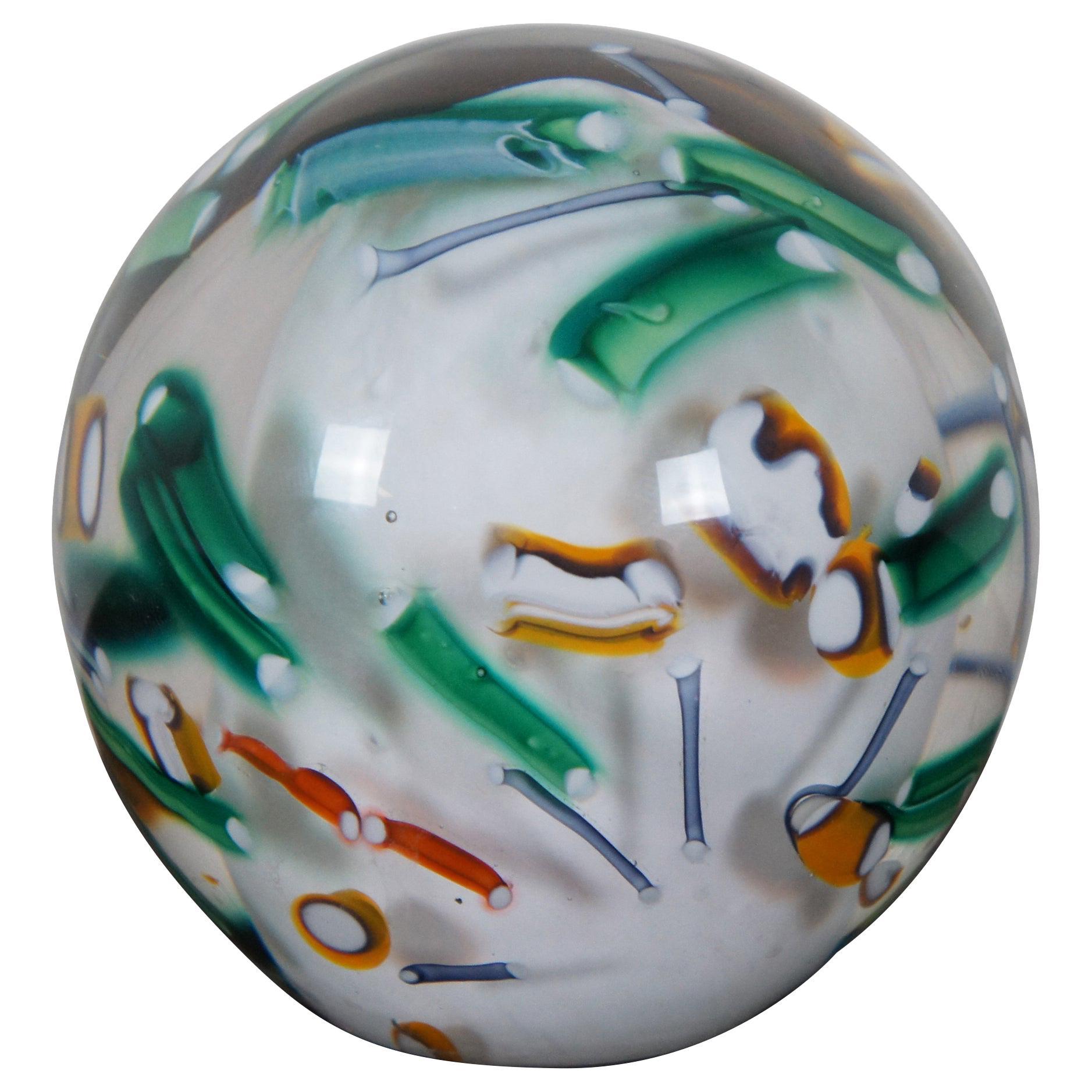Signed Modern Abstract Millefiori Art Glass Hand Blown Paperweight Orb