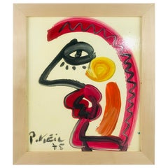 Signed Modern Profile by German Listed Artist Peter Keil Oil on Board, 1975