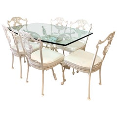 Signed Molla White Cast Aluminum 7 Pc Patio Dining Set, Table and 6 Chairs