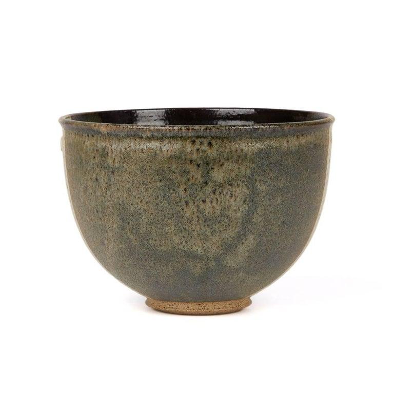 Modern Signed Monochrome Stripe Design Studio Pottery Bowl, 20th Century For Sale