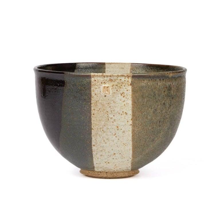 Glazed Signed Monochrome Stripe Design Studio Pottery Bowl, 20th Century For Sale