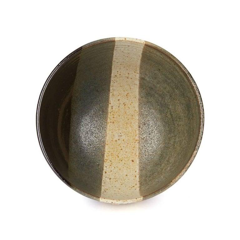 Signed Monochrome Stripe Design Studio Pottery Bowl, 20th Century For Sale 1