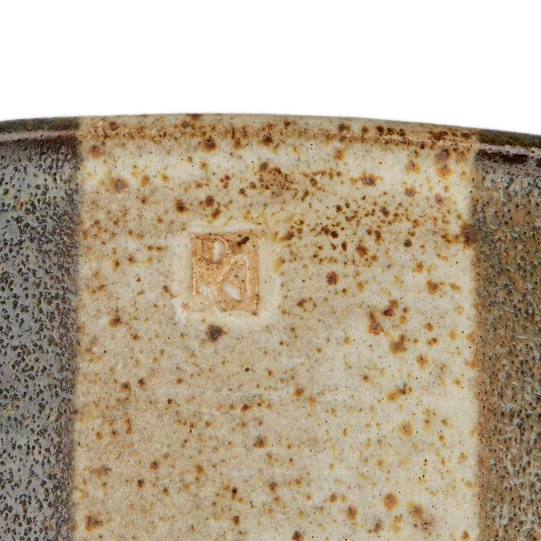 Signed Monochrome Stripe Design Studio Pottery Bowl, 20th Century For Sale 3