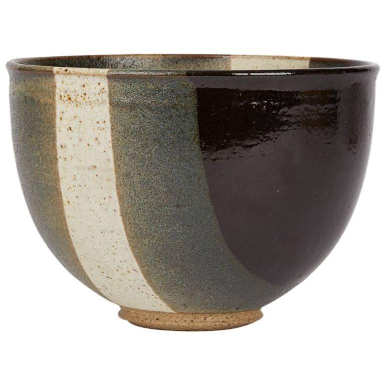 Signed Monochrome Stripe Design Studio Pottery Bowl, 20th Century For Sale