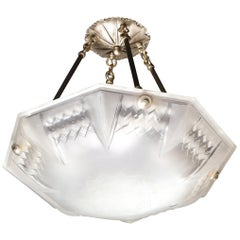 Signed Muller Frères Art Deco Frosted Glass Chandelier with Skyscraper Detailing