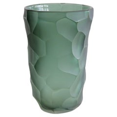 Signed Murano Glass Vase, Italy 'Green'