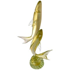 Signed Murano Italy Sculpture of Two Fish Sharks Dolphins