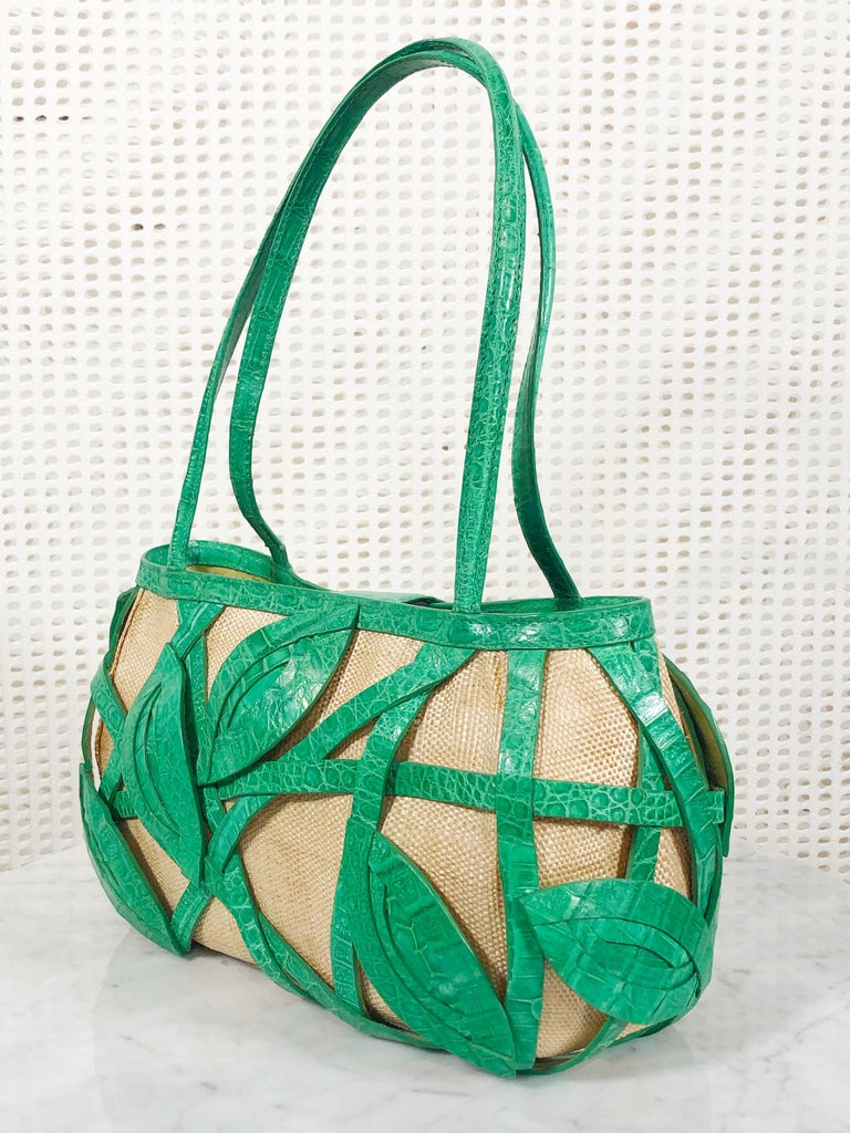 Signed Nancy Gonzalez Straw Purse W/ Green Crocodile Leafy Basket  In Excellent Condition For Sale In San Francisco, CA