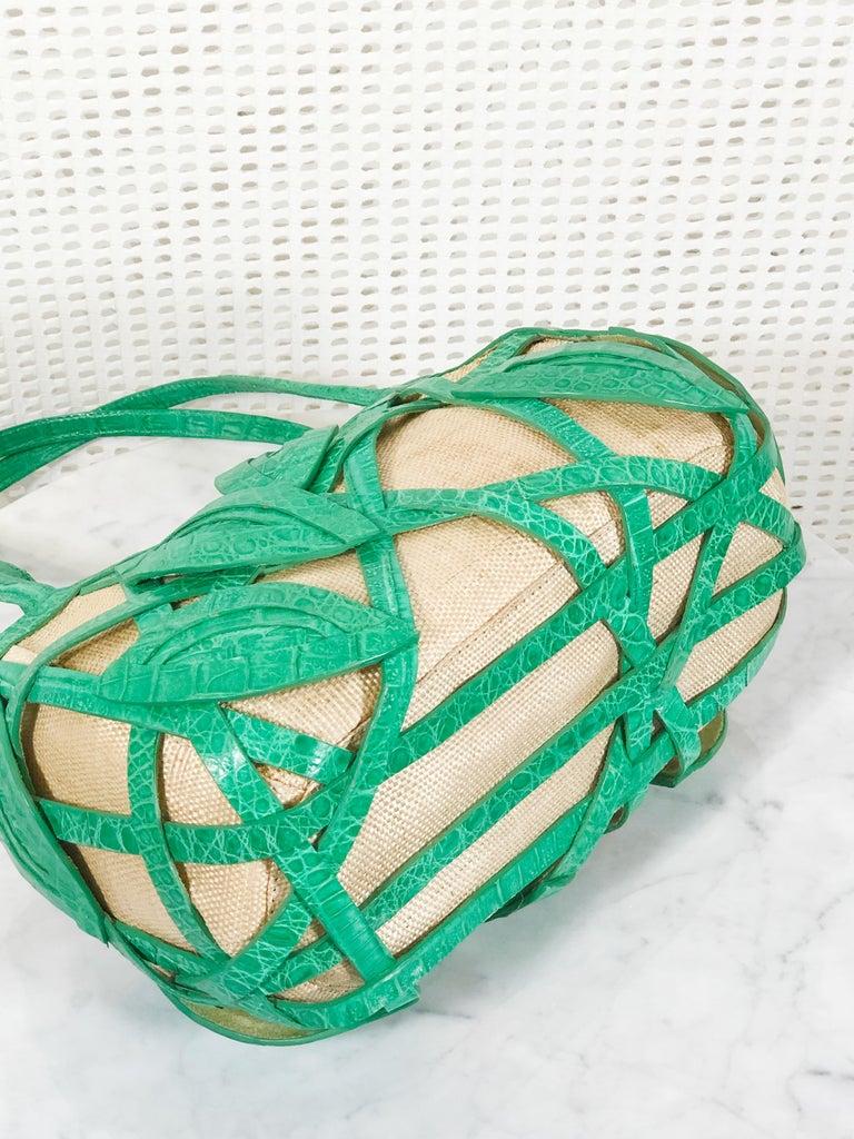 Women's Signed Nancy Gonzalez Straw Purse W/ Green Crocodile Leafy Basket  For Sale