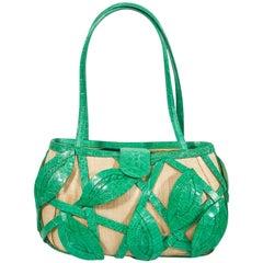 Signed Nancy Gonzalez Straw Purse W/ Green Crocodile Leafy Basket