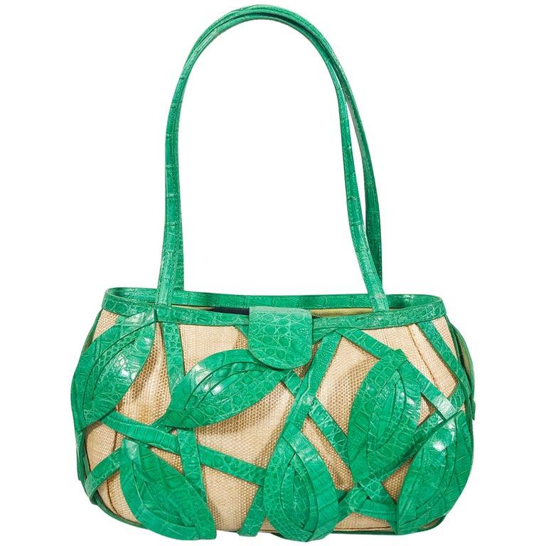 Signed Nancy Gonzalez Straw Purse W/ Green Crocodile Leafy Basket  For Sale